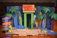 Here is our set at Holy Covenant UMC in Katy, Texas. We are on Day 3 of our VBS and the kids love this year's theme! cokesburyvbs.com