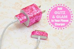what do you use tinsel glitter for | glitter your cell phone charger with glitter ribbon