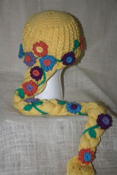 crocheted disney princess hat patterns | Rapunzel Blonde Princess Hat EASY Crochet by HulaLoopDesigns, $5.50