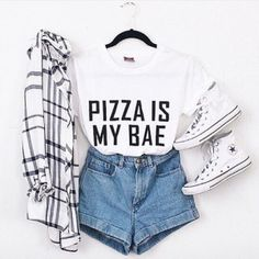 Oversized Flannel Shirt with Stripes, Pizza is my Bae shirt, Trainers and Shorts