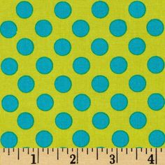 Michael Miller Ta Dot Caribe from @fabricdotcom  Designed for Michael Miller Fabrics, this coordinating polka dot has a color palette of lime and caribbean blue. The polka dot is about 3/8''. Use for quilting and craft projects as well as apparel and home décor accents.