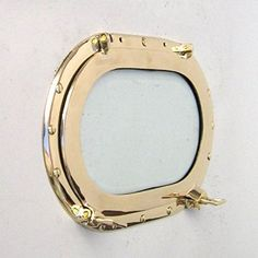 Oblong Brass Porthole Window Or Frame - 14 1/2 * Continue to the product at the image link. (This is an affiliate link) #Mirrors