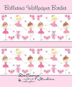 Pink Ballerina Wallpaper Border wall decals for baby girl ballet nursery or children's dance bedroom decor #decampstudios
