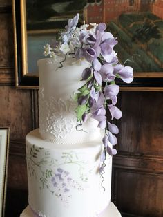 Wedding Gowns, Wedding Cakes, Lace Wedding, Hand Pipes, Sugar Flowers, Lace Design, Wisteria, Icing, Hand Painted