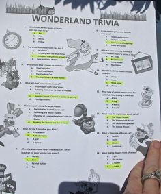The Alice in Wonderland Trivia game.