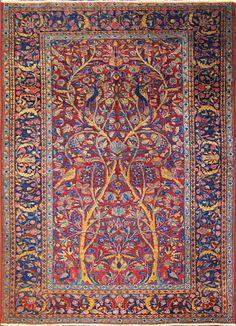 "Three of Life Manchester Kashan Rug Size: 3'0"" x 4'10"" - 91cm x 147cm Origin: Central PersiaPeriod: C 1920"