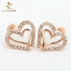 Top Quality Classic Heart Rose Gold Color Stud Earrings Jewelry Made with Genuine Austrian Crystal Wholesale E377