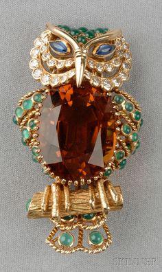 18 K Gold, Citrine, Diamond, and Gem Set Owl Brooch, Champagnat, France.