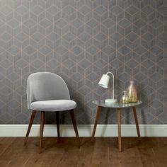 Box Geo Charcoal - Copper Wallpaper