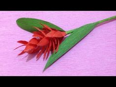 How to Make Red Ginger Crepe Paper flowers - Flower Making of Crepe Paper - Paper Flower Tutorial - YouTube