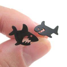 Cartoon Shark Silhouette Shaped Sea Creatures Stud Earrings in Blackhttps://goo.gl/bGErvi
