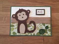 Monkey Baby Card/ Baby Card/ Monkey Card by ChrisiesCollection