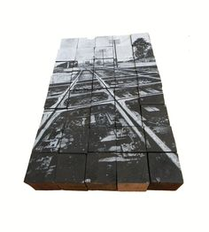 Reclaimed Wood and Silkscreen Sculpture 28 x 18.5 x by BRGrogan,  Industrial Urban Landscape Train Tracks