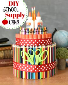 Fun way to start the school year off right. Simple and fun t… School supply cake! Fun way to start the school year off right. Simple and fun to make, this school supply cake it the perfect back to school gift idea! Christmas Presents For Teachers, Homemade Christmas Presents, Homemade Gifts, Diy Gifts, School Supplies Tumblr, School Supplies Cake, College Supplies, Teacher Appreciation Gifts, Teacher Gifts