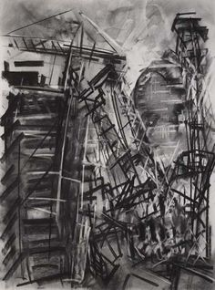 room with charcoal drawings | Dennis Creffield, St Paul's and its Environs. Charcoal drawing with ...