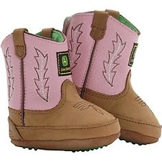 John Deere Johnny Popper Distressed Brown Suede w/ Pink Top Infant Bootie
