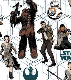 Telas retro - Tela FQ :: Star Wars The Force Awakens Heros :: - hecho a mano por nosgustanlosretros en DaWanda