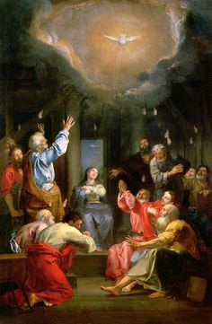 """""""The Lord is the Spirit, and where the Spirit of the Lord is, there is freedom."""" 2 Corinthians // Pentecost / Pentecostés / La Pentecôte // century // Attributed to Louis Galloche // Nantes, musée d'Arts Catholic Art, Religious Art, Santicima Trinidad, Rosary Mysteries, Saint Jean Baptiste, Saint Esprit, Holy Rosary, Spiritus, Kingdom Of Heaven"""