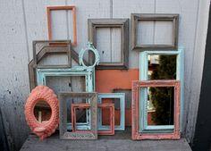 Coral and Aqua decor | ... Set - Frame Gallery - Coral Decor Aqua Decor - Ornate Frames - Mirrors