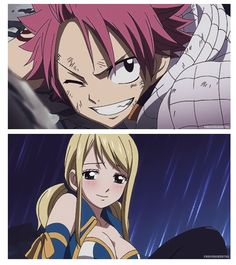 Natsu Dragnel and Lucy Heartfilia from Fairy Tail Fairy Tail Lucy, Fairy Tail Nalu, Fairy Tail Guild, Fairy Tail Ships, Natsu E Lucy, Laxus Dreyar, Famous Fairies, Fairy Tail Couples, Dragon Slayer