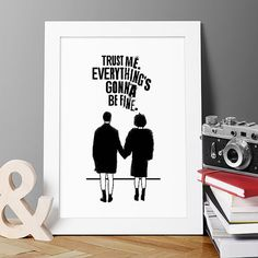 Trust Me. Everything's Gonna Be Fine. Fight Club Poster, Marla Singer, Fight Club Final Scene, Illustrations, Typography, Gift Idea