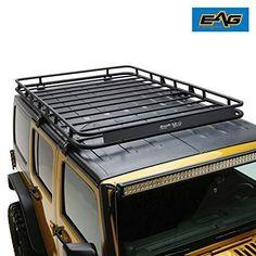 EAG 4 Door Roof Rack Cargo Basket W/Wind Deflector for 07-18 Jeep Wrangler JK Jeep Jku, Jeep Wrangler Jk, Jeep Wrangler Unlimited, Jeep Wrangler Accessories, Dog Cages, Dog Store, Roof Rack, Basket, Baskets