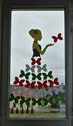 március 15. dekoráció – Google Keresés Craft Free, Butterfly Art, Spring Crafts, Flocking, Techno, Kindergarten, Crafts For Kids, Day, Painting