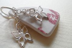 Sea Pottery Sterling Silver OOAK Butterfly Pastel Pink Necklace Very Feminine £22.95