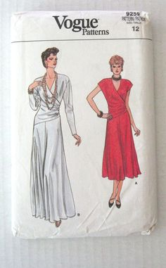 1980s Draped Evening or Cocktail Dress Pattern by QuiltCitySue