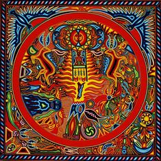 Huichole yarn painting