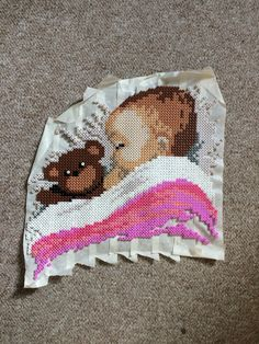 Baby with teddy hama beads by Tine Bergenstoff - Pattern: https://de.pinterest.com/pin/374291419010909084/