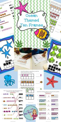 Ten Frames...Posters for classroom, matching, comparing, and counting activities for preschool  and kindergarten classrooms.