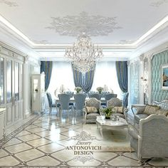 A very opulent dining area in beautiful blue/gold/tans.