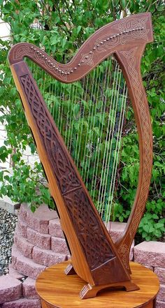 A beautiful 36 string Celtic MEGHAN HARP featuring a hand engraved and inlaid Rosewood Frame in a Renaissance Era, Celtic Knotwork design.  http://www.celticrenaissancemusic.com/product/HMGA-K