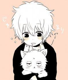 Znalezione obrazy dla zapytania anime boy with cat
