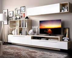 Contemporary wall TV unit system in high gloss white and high gloss beige