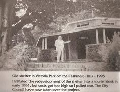 Clarence Oakley at the old shelter at Victoria Park, Cashemere Hills, Christchurch, NZ