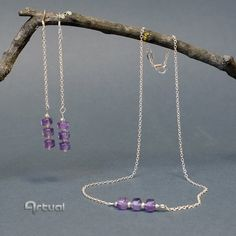 Sterling silver minimalist dangle earrings and choker necklace jewelry set, feb birthstone birthday gift for women, purple amethyst gemstone Etsy Jewelry, Jewelry Art, Handmade Jewelry, Beaded Jewelry, Jewelry Necklaces, Silver Jewelry, Artisan Jewelry, Handmade Gifts, Silver Beads