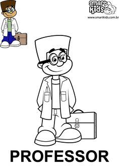 3118b7032dd1e Desenhos para colorir Profissões Professora - Smartkids Atividades Sobre