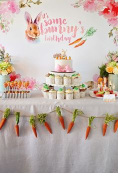 Bunny-Themed Birthday Party - cute ideas for a spring kids party!