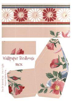 Vintage Wallpaper Birdhouse No 21