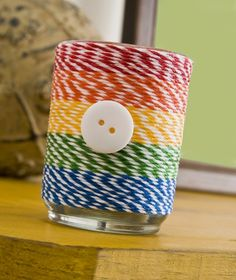 Easy/beginner craft idea: upcycle a glass container with baker's twine and Mod Podge. One of the easiest gifts you'll ever make!