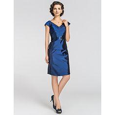 Sheath/Column V-neck Knee-length Taffeta Mother of The Bride Dress – USD $ 129.99