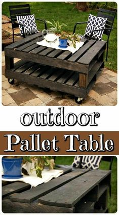 DIY Wood Pallet Outdoor Table – perfect for your patio… DIY Wood Pallet Outdoor Table – perfect for your patio… Diy Wood Pallet, Wooden Pallet Projects, Wooden Pallets, Wooden Diy, 1001 Pallets, Diy Projects Out Of Pallets, Ideas For Wood Pallets, Table From Pallets, Diy Pallet Table