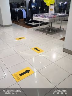 Arrow Stickers on Departmental Store Floor direct customers Clearance Sales Products   .MYER Arrow Clearance Clothing Departmental-Stores Melbourne Signs