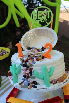 Gold mining cactus birthday party cake! See more party planning ideas at CatchMyParty.com!
