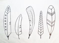 Whimsical Feather Drawings | How to Draw 5 Easy Feathers | Feather Art P...