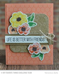 Watercolor Flowers stamp set and Die-namics, Lace Background, Mini Chicken Wire Background, Tickled Pink, Inside & Out Stitched Rounded Square STAX Die-namics, Stitched Fishtail Flags STAX die-namics - Veronica Zalis #mftstamps