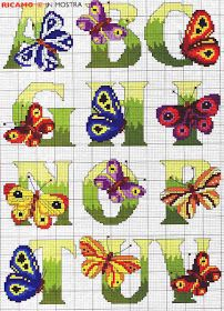 Cross Stitch: Free Butterfly Alphabet Chart (Part Counted Cross Stitch Patterns, Cross Stitch Charts, Cross Stitch Designs, Cross Stitch Embroidery, Embroidery Patterns, Butterfly Cross Stitch, Cross Stitch Letters, Cross Stitch Needles, Le Point