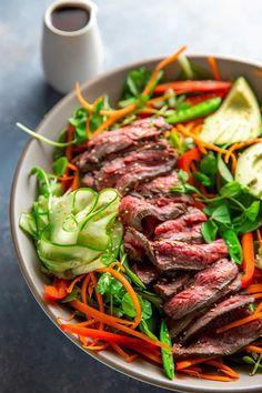 Asian Steak Salad (Whole30, Gluten Free) - Nom Nom Paleo® Minute Steak Recipes, Nom Nom Paleo, Steak Salad, Salisbury Steak, Simply Recipes, Dinner Salads, Vegetable Sides, Healthy Salads, Asian Salads